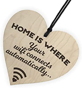 XLD Store Home Is Where Wifi Is Novelty Wooden Hanging Heart Plaque House Funny Wall Sign