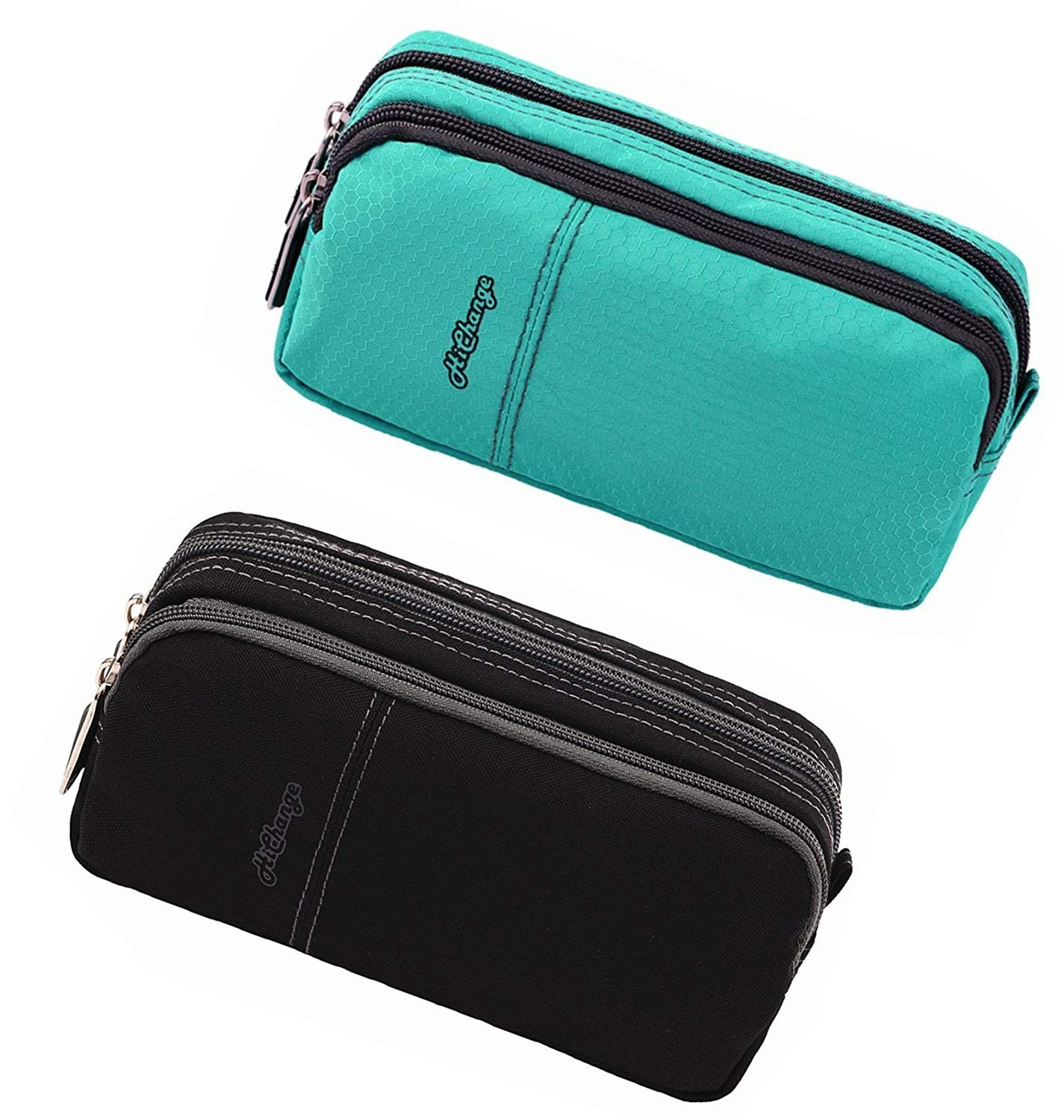 Pencil Case, Large Capacity Pencil Cases Pencil Bag with Two Compartments … (2Pack Black+Green)