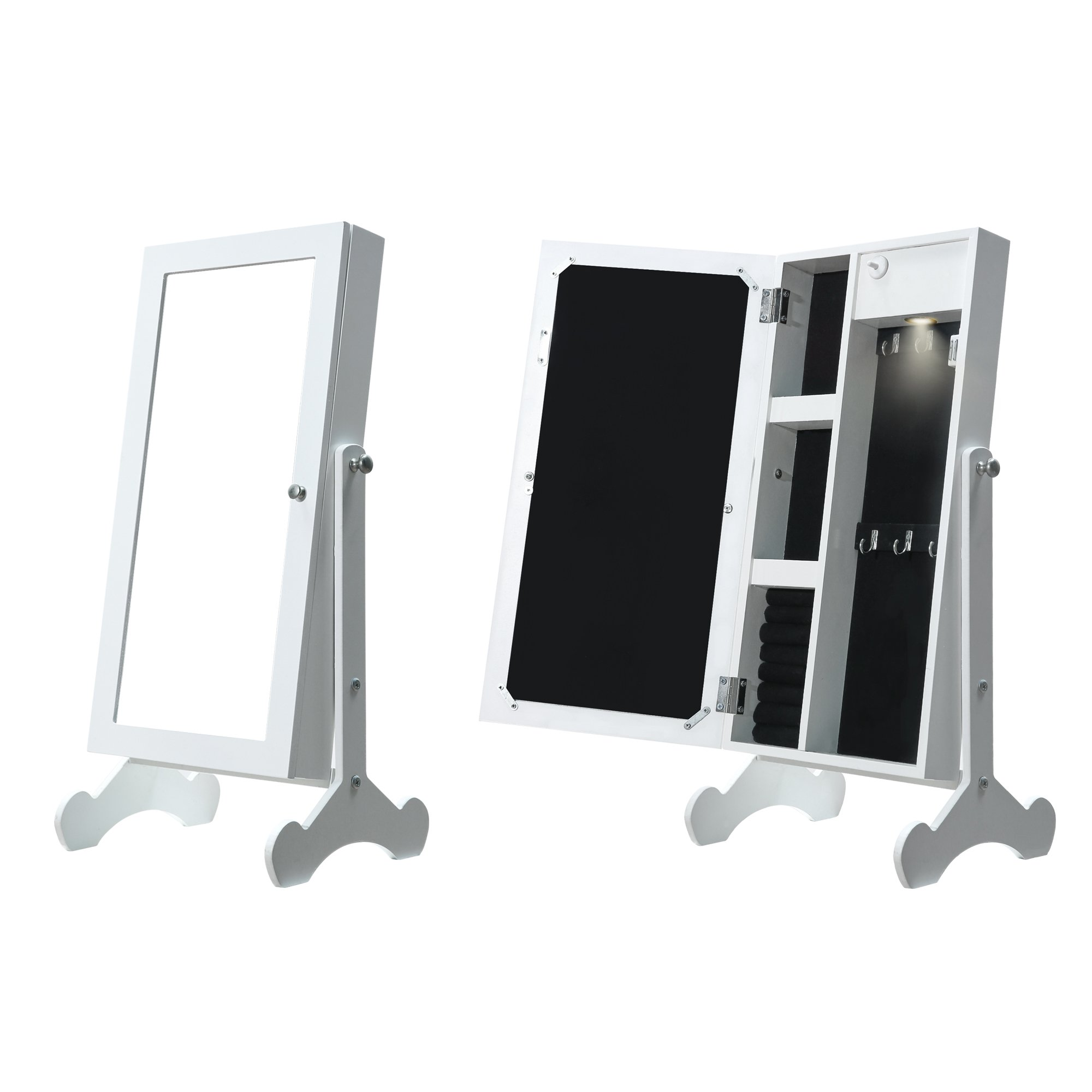 Cloud Mountain Make Up Mirrored Jewelry Cabinet Free Standing Jewelry Armoire Mini Table Tilting Jewelry Organizer, White by Cloud Mountain (Image #1)