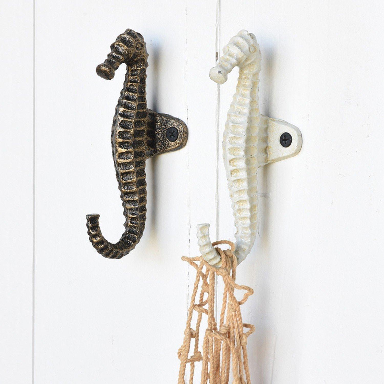 Brass White Seahorse Iron Wall Hook Set 4 | Towel Hanger Beach Gold Bronze