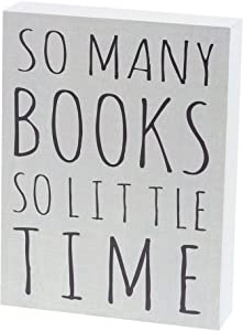 "Barnyard Designs So Many Books So Little Time Box Wall Art Sign Primitive Country Home Decor Sign with Sayings 8"" x 6"""