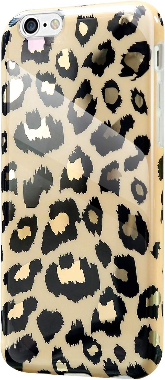 Brillante Marmol Dise/ño Ultra Fina Delgado Gel Goma Bumper Case Antigolpes Cubierta para iPhone 6 Plus//6S Plus,Leopardo JAWSEU Funda Compatible con iPhone 6 Plus//6S Plus Suave de TPU Silicona Carcasa