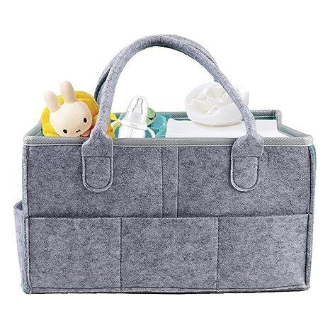 GoodFaith8 Baby Diaper Caddy Portable Couches Organiseur Feutre Panier Organiseur de Couches pour bébé Lingettes Sac 38x27x18cm Grey + Cyan: Amazon.es: ...