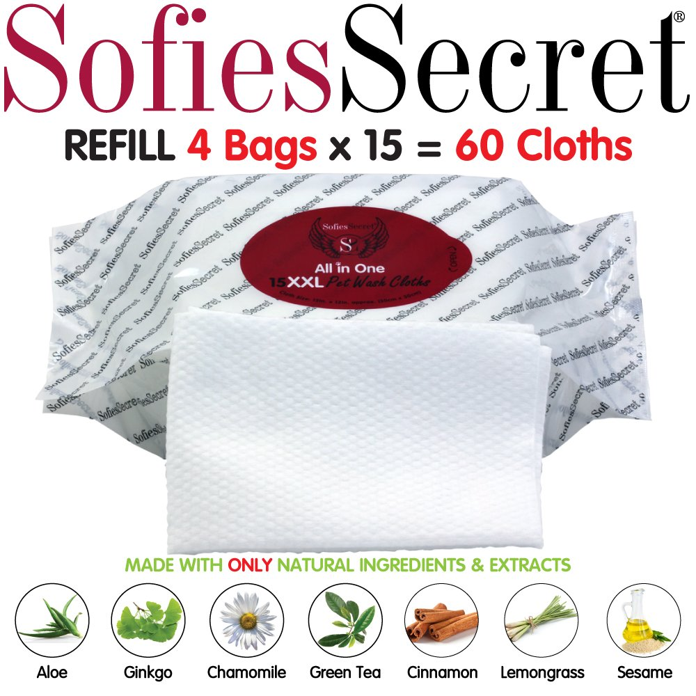 SofiesSecret PET Bath Wipes, 60XXL Refills, 12''x12'' for Dogs + Cats, Infused with ONLY 100% Natural Oils & Extracts, Rinse Free Grooming Wipes for Paws, Coat, Face, Ears, Skin, Teeth