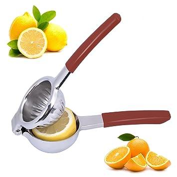 Top Rated lennov Premium calidad exprimidor de limones de acero inoxidable con asas de silicona: Amazon.es: Hogar