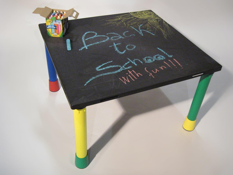 modular linking ''BLACKBOARD'' classroom table for kids, 30''x32''x20''H dark gray reinforced resin table top, multicolored resin legs