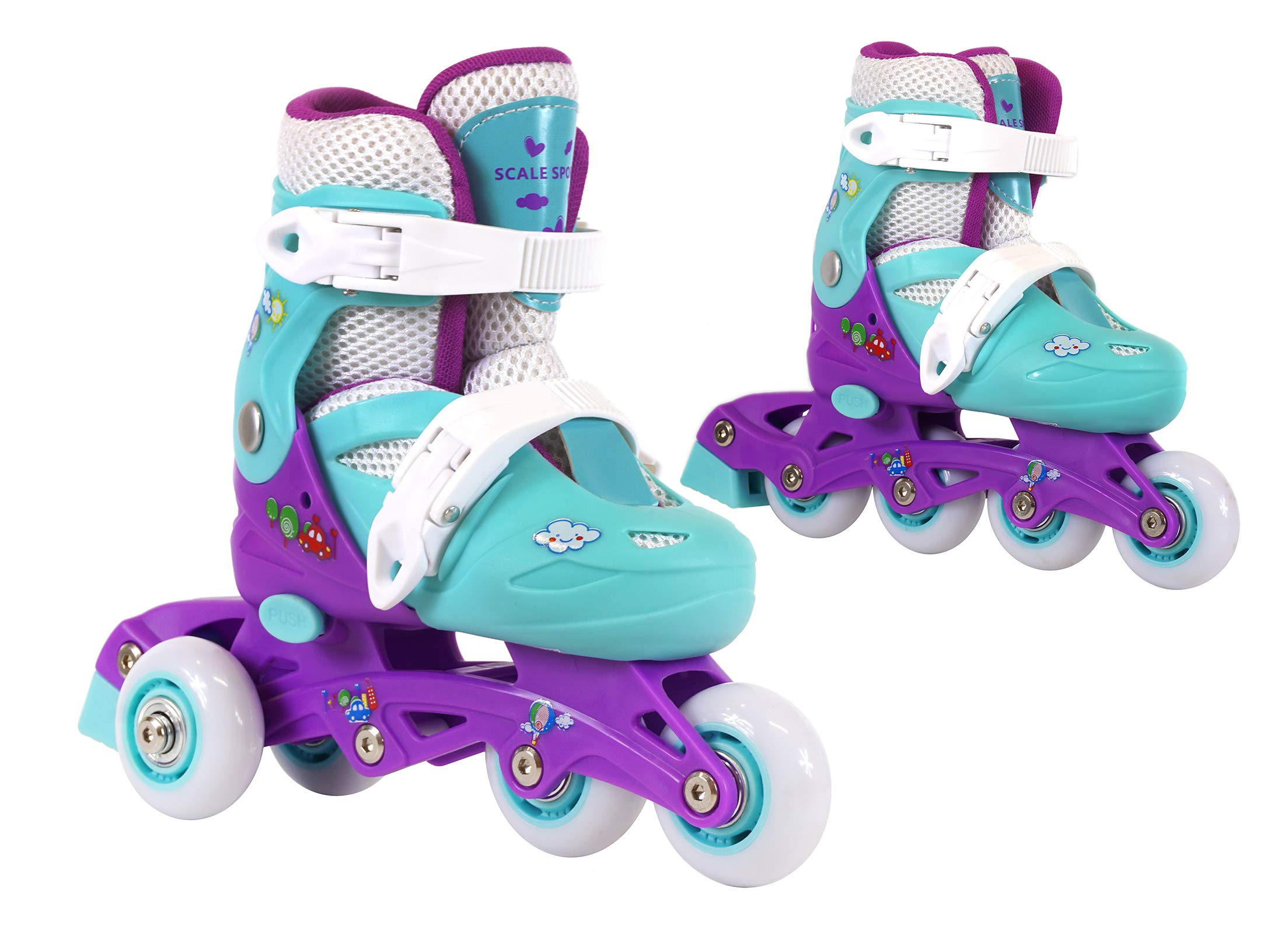 Kids Training Adjustable Skates Combo 3 Wheels 2 in 1 for Preschool Junior Boys and Girls Perfect First Inline Skates Child Roller Skates