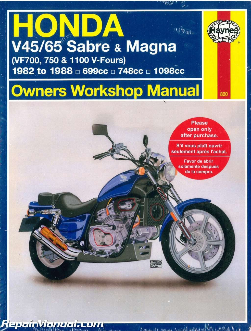 H820 Honda V45 V65 VF700 750 1100 Sabre Magna V-Fours 1982-1988 Haynes  Motorcycle Repair Manual: Manufacturer: Amazon.com: Books