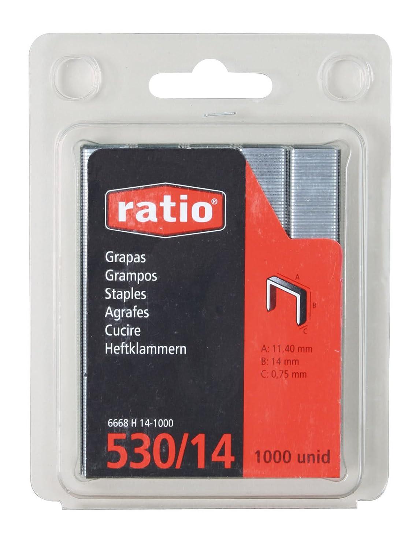 12mm 1000 Grapas de alambre redondo de Long Ancho exterior 11.4mm Uso ligero. Black+Decker X70112-QZ Ancho interior 10.1mm