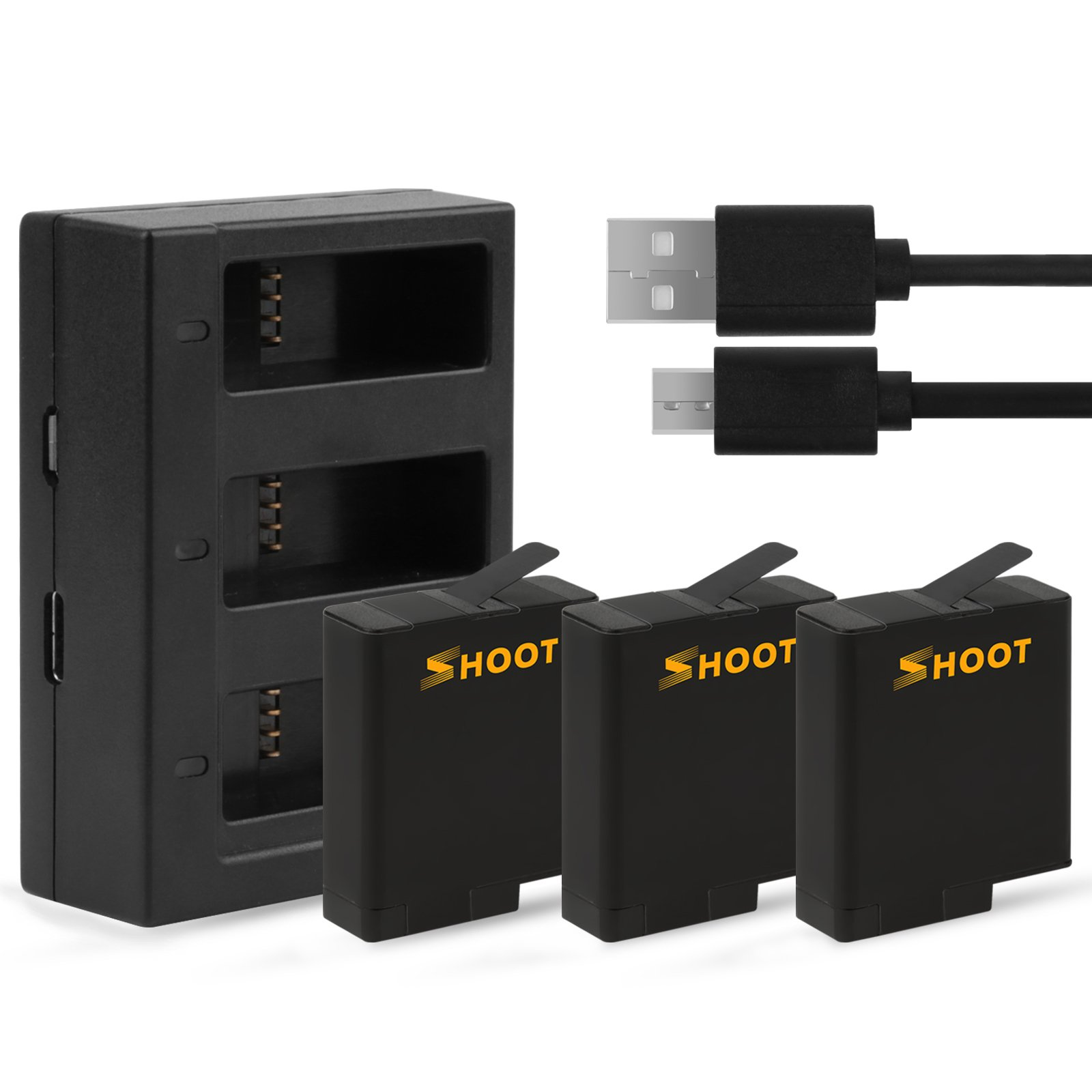 SHOOT 1220mAh 3-Pack Replacement Battery USB Charger for GoPro HERO 6/ HERO 5/HERO(2018) Black Accessories (Compatible with Firmware v02.60,v02.51,v02.01, v02.00, v01.57 and v01.55 )
