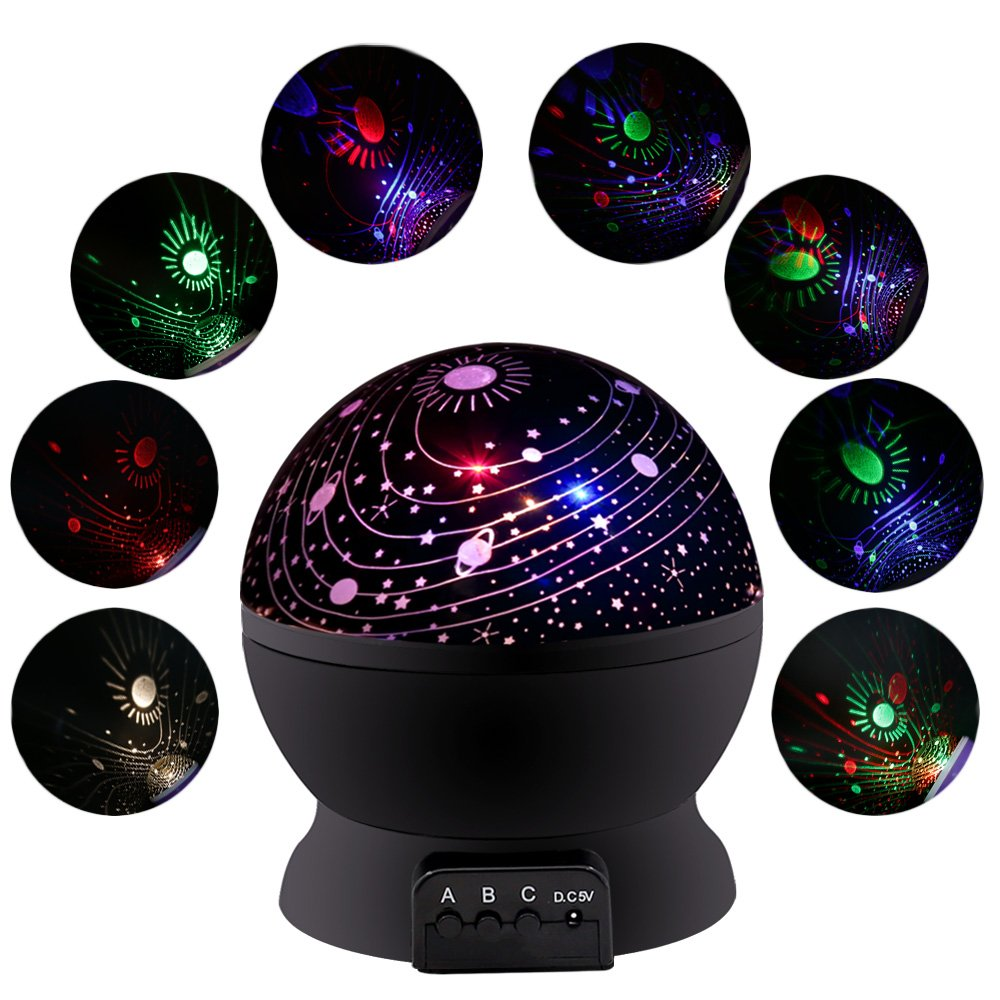 MOKOQI Baby Night Light Lamps For Bedroom Romantic 360 Degree Rotating Star with Sky Moon Cover +Cosmos Cover Projector Lights Color Changing LED For Kids Girls Boys Baby Nursery Gift(Black-2 Lids) by MOKOQI (Image #6)