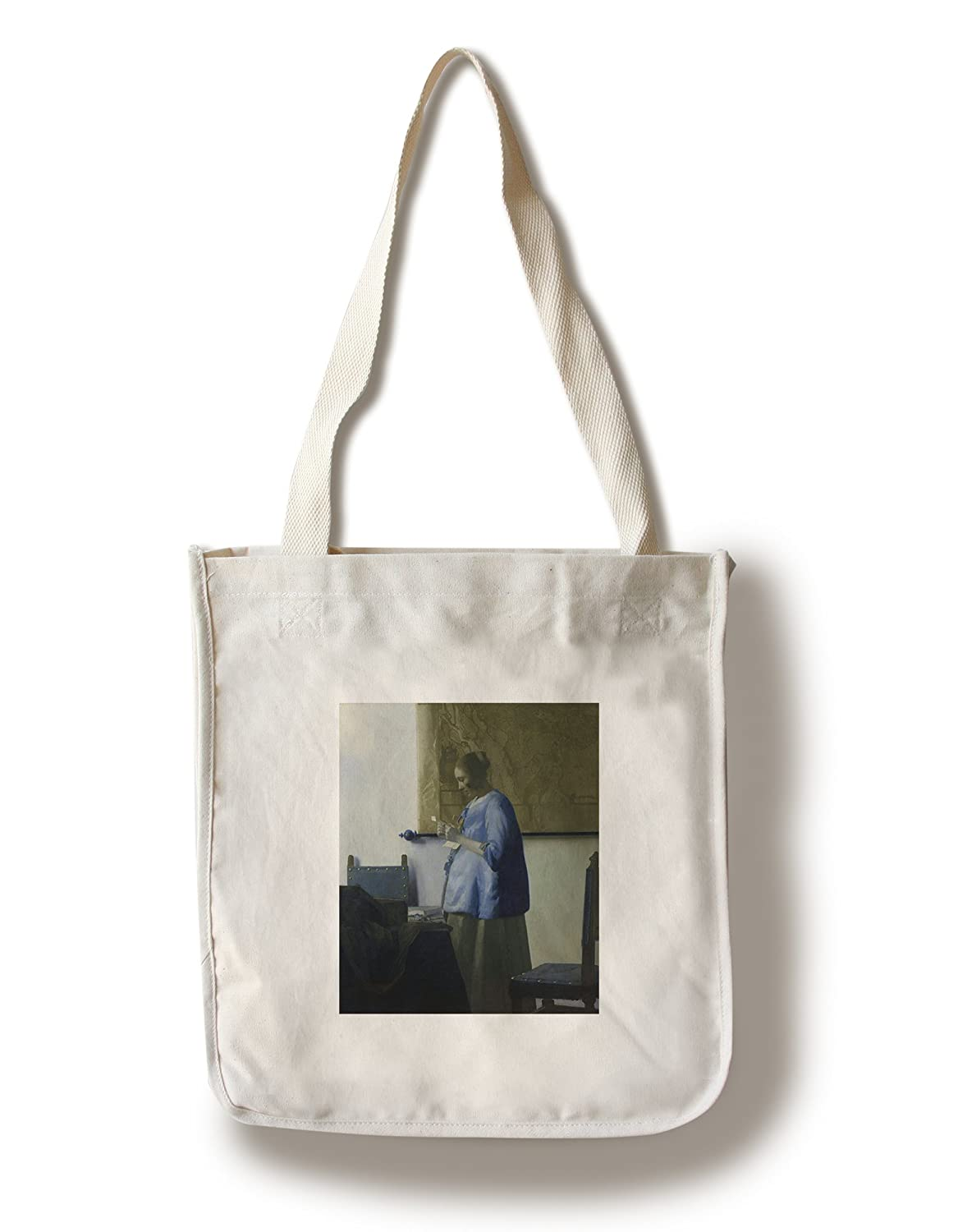 Woman inブルーReading a Letter – 傑作クラシック – アーティスト: Johannes Vermeer c。1662年 Canvas Tote Bag LANT-69387-TT B01B5O6CTM  Canvas Tote Bag