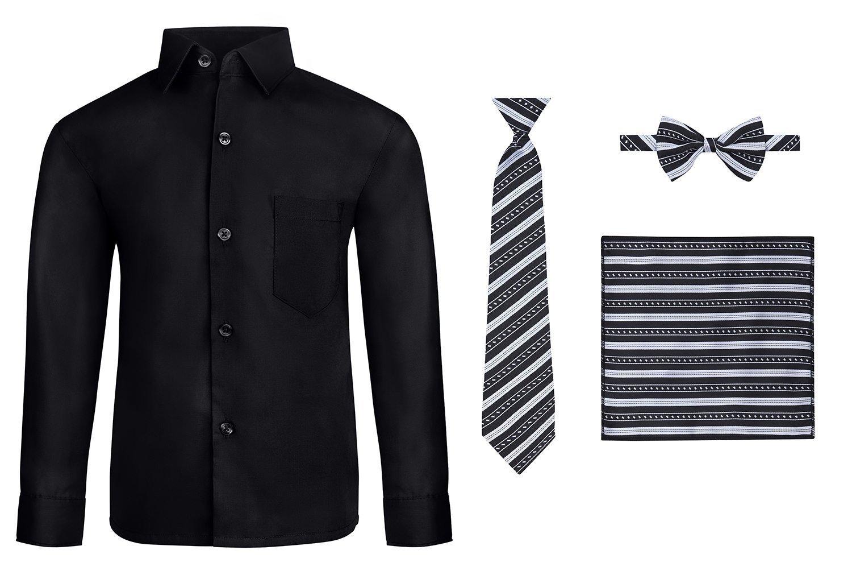 S.H. Churchill & Co. Boy's Dress Shirt & Tie - Black, 16