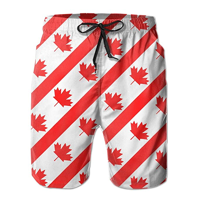 Mens Canadian Symbol Maple Leaf Flag Summer Swim Trunks Beach