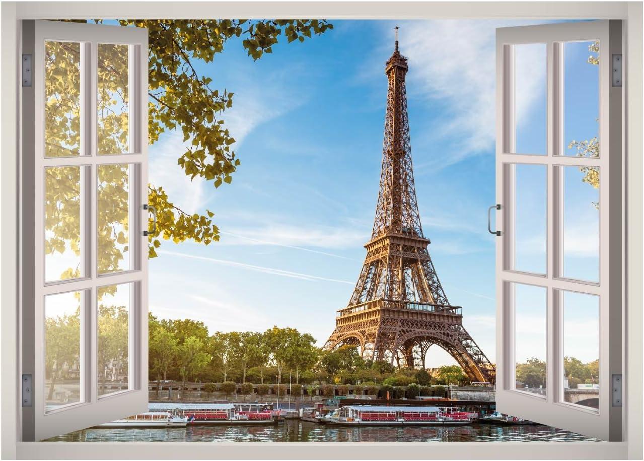 Eiffel Tower Paris View Window 3D Wall Decal Art Removable Wallpaper Mural Sticker Vinyl Home Decor West Mountain W23 (SMALL (24''W x 17''H))