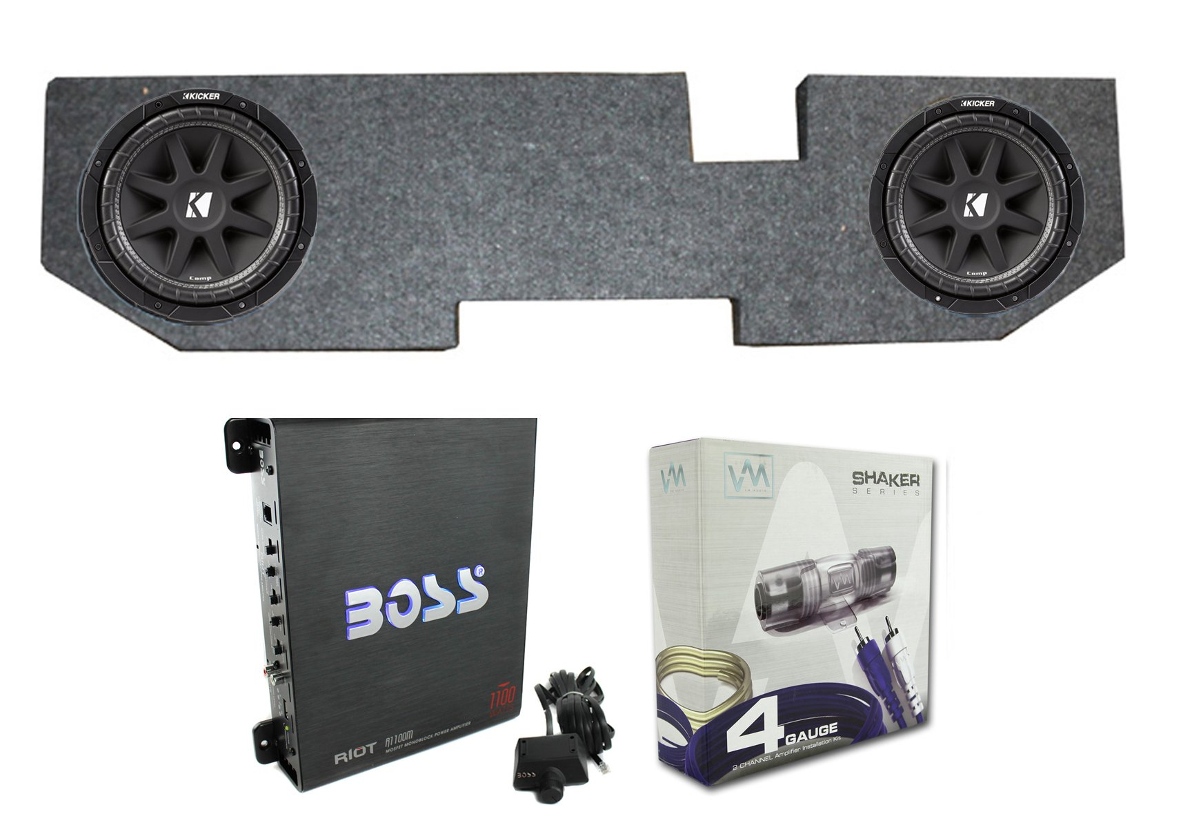 2) KICKER 43C104 10'' 600W Subwoofers+For Dodge Ram Quad 02-Newer Box+Amp+Wiring