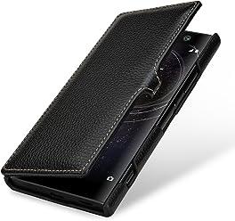 StilGut Housse pour Sony Xperia XA2 en Cuir véritable et à Ouverture latérale, Noir avec Clip