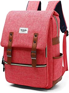 "Kemladio Vintage Laptop Backpack for Men Women College School Backpack Fits 15.6""Notebook Casual Daypack for Travel and Trip (Red)"