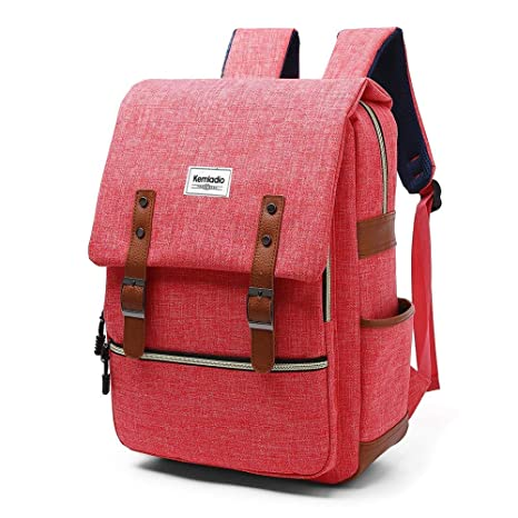 e2b6a2c97d Amazon.com  Kemladio Vintage Backpack 15.6 Inch Slim Laptop Bag College  Backpack School Bag Casual Daypack for Travel and Trip (Pink)  Computers    ...