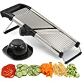 Adjustable Mandolin Slicer by Chef's INSPIRATIONS. Best for Slicing Onions, Potatoes, Tomatoes, Fruit and Vegetables. Professional Grade Julienne Slicer. With Cleaning Brush. Stainless Steel