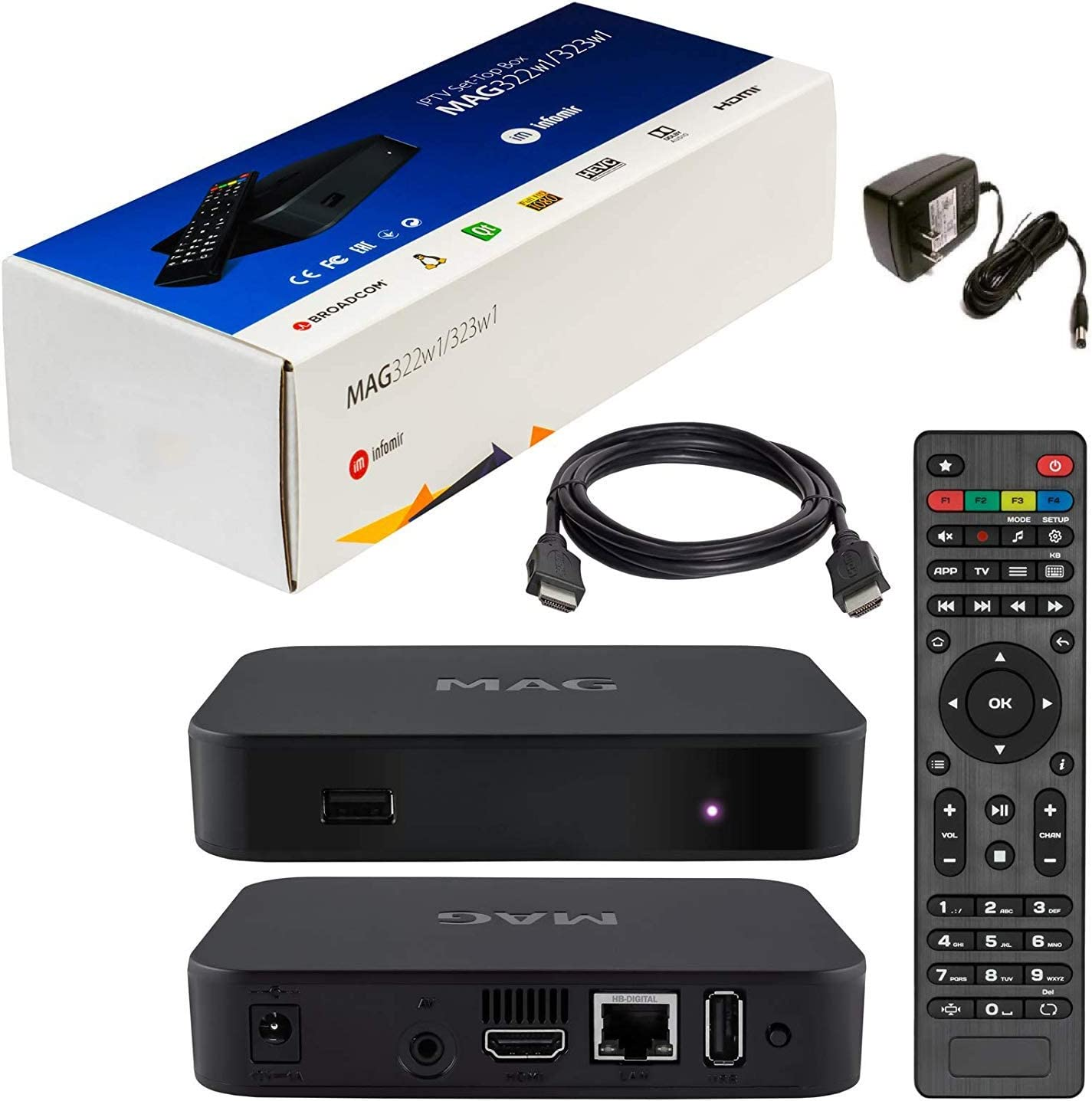 Original MAG 322w1 by inofmir + US power adapter + HDMI cable + Remote Control