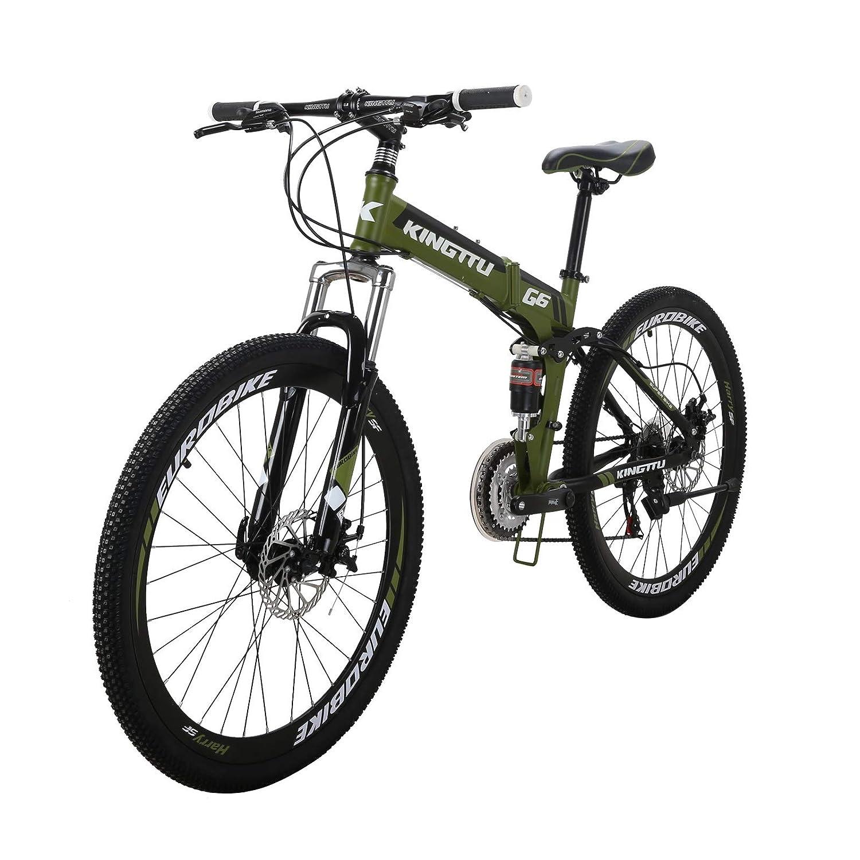 LZBIKE 自転車G6-26 マウンテンバイク 折りたたみ自転車 スチール自転車 21速シフト3×7速 自転車 アーミーグリーン 26W