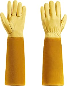 Rose Pruning Garden Gloves Thorn proof Goatskin Gardening Gloves For Men and Women With Long Cow Leather Gauntlet (XL)