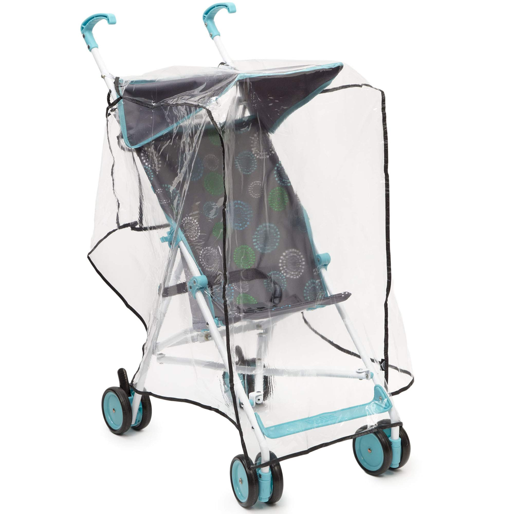 Delta Children Umbrella Stroller Rain Cover | Universal Size | Weather Shield Protects Your Baby from Rain, Wind, Snow, Sleet or Insects | Ventilated | Storage Pocket Included (Clear) by Delta Children (Image #1)