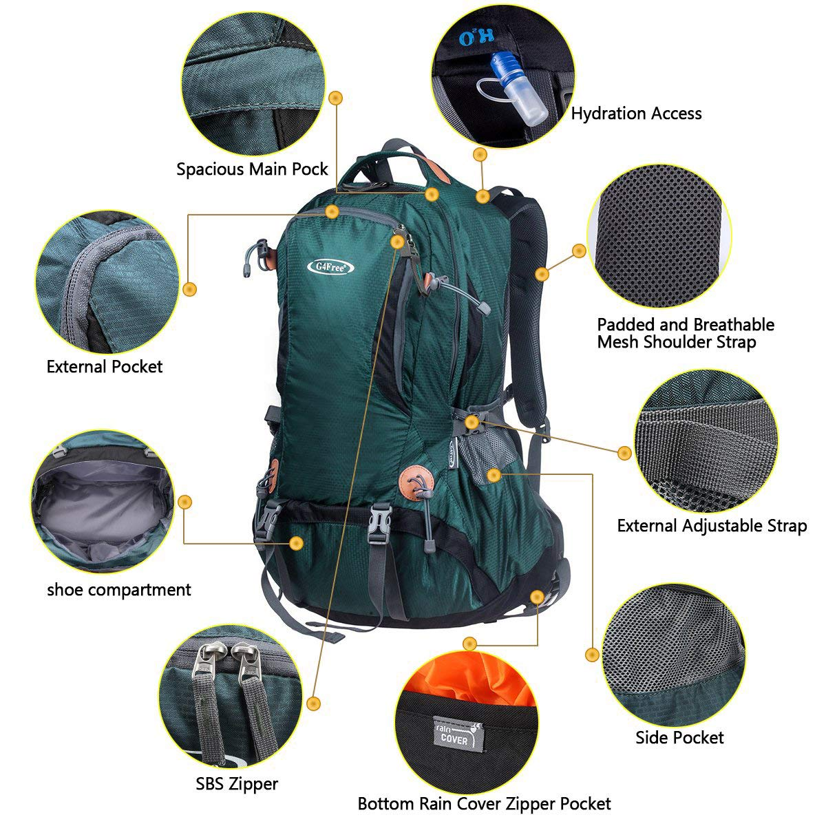 G4Free Hiking Backpack 50L Outdoor Camping Climbing Backpack for Backpacker with Rain Cover