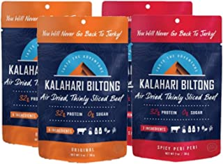product image for Kalahari Biltong Variety Pack | Air-Dried Thinly Sliced Beef | Original, Spicy Peri Peri | 2oz (Pack Of 4) | Sugar Free | Better Than Jerky