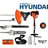 P1PE P5200MT 52cc Petrol Garden Multi Tool inc Hedge Trimmer, Pole Saw, Brush Cutter, Grass Trimmer Hyundai Powered