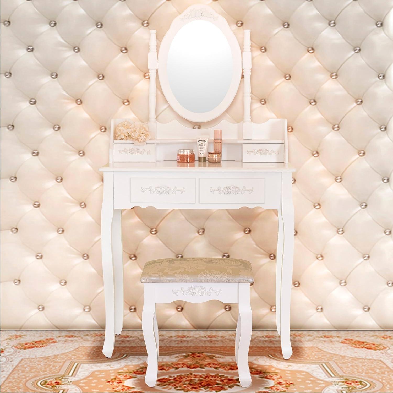 vanity desk. Amazon com  Elegance Vanity Makeup Table Set 4 Strawers Dressing with Stool White Kitchen Dining