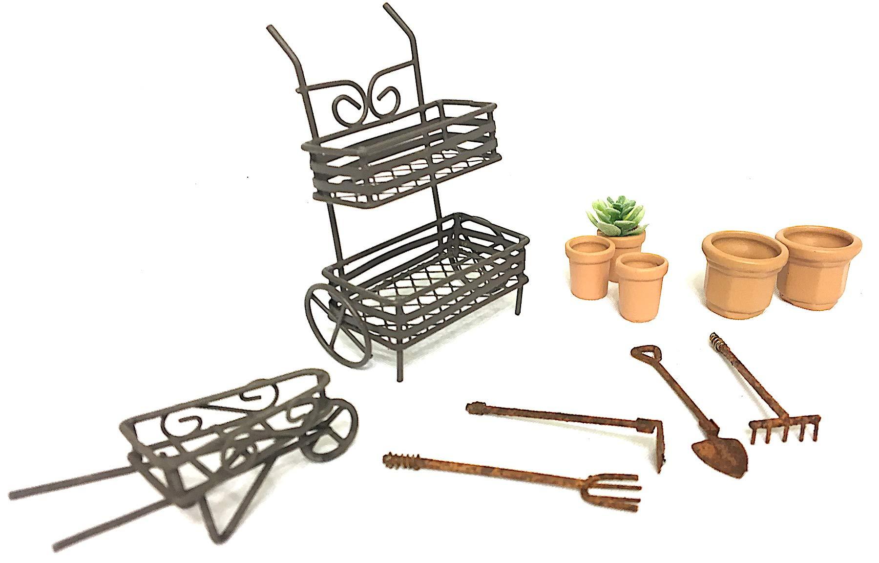 Pabu Guli DIY Fairy Garden Kit, with Miniature Rustic Plant Cart, Wheel Barrow and Accessories