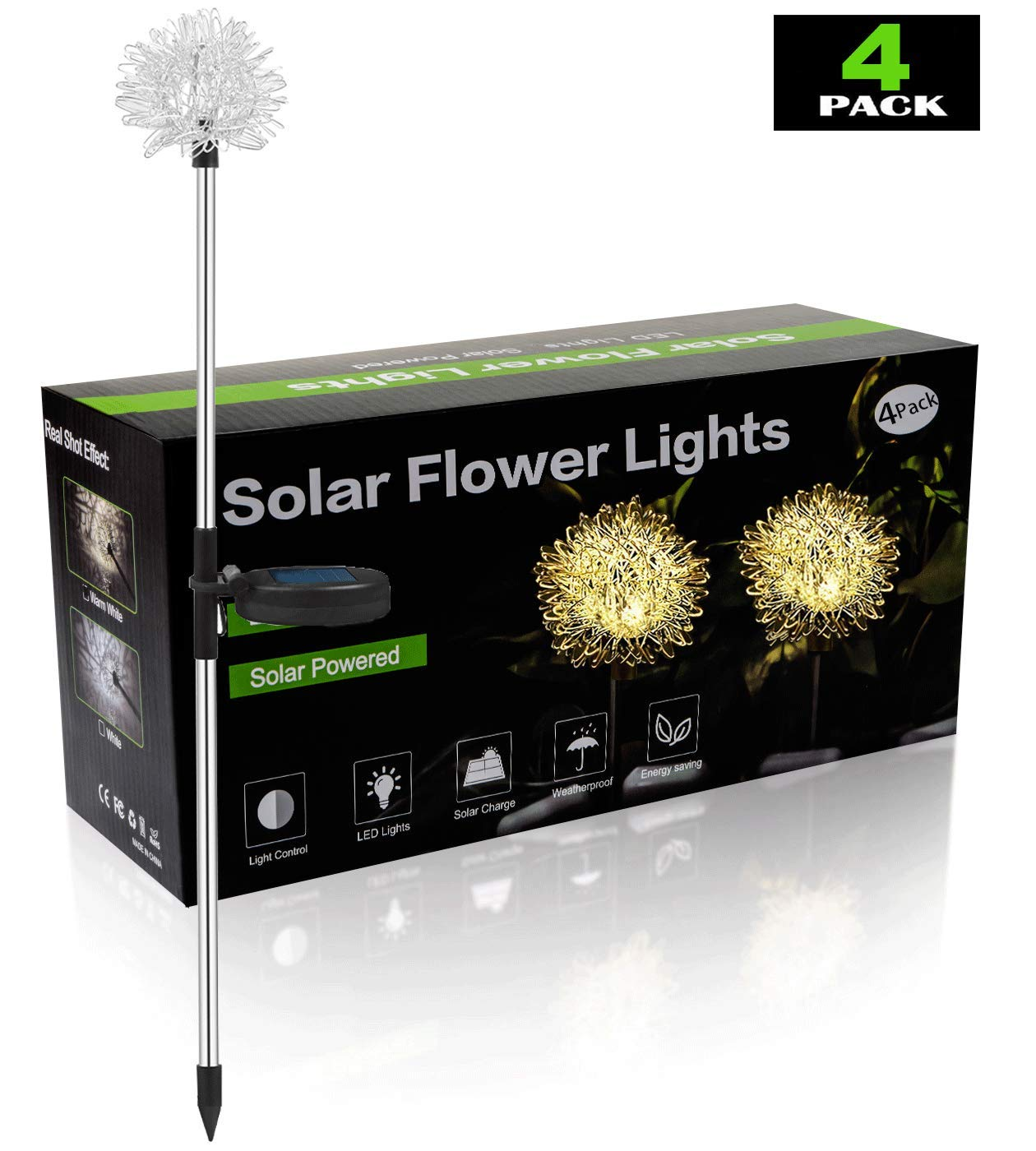 Decorative Garden Solar Lights Outdoor, Warm Colored Solar Powered Dandelion Flower Lights, LED Landscape Lighting with Stakes for Garden Pathway, Walkway, Driveway, Landscape, or Patio - Set of 4
