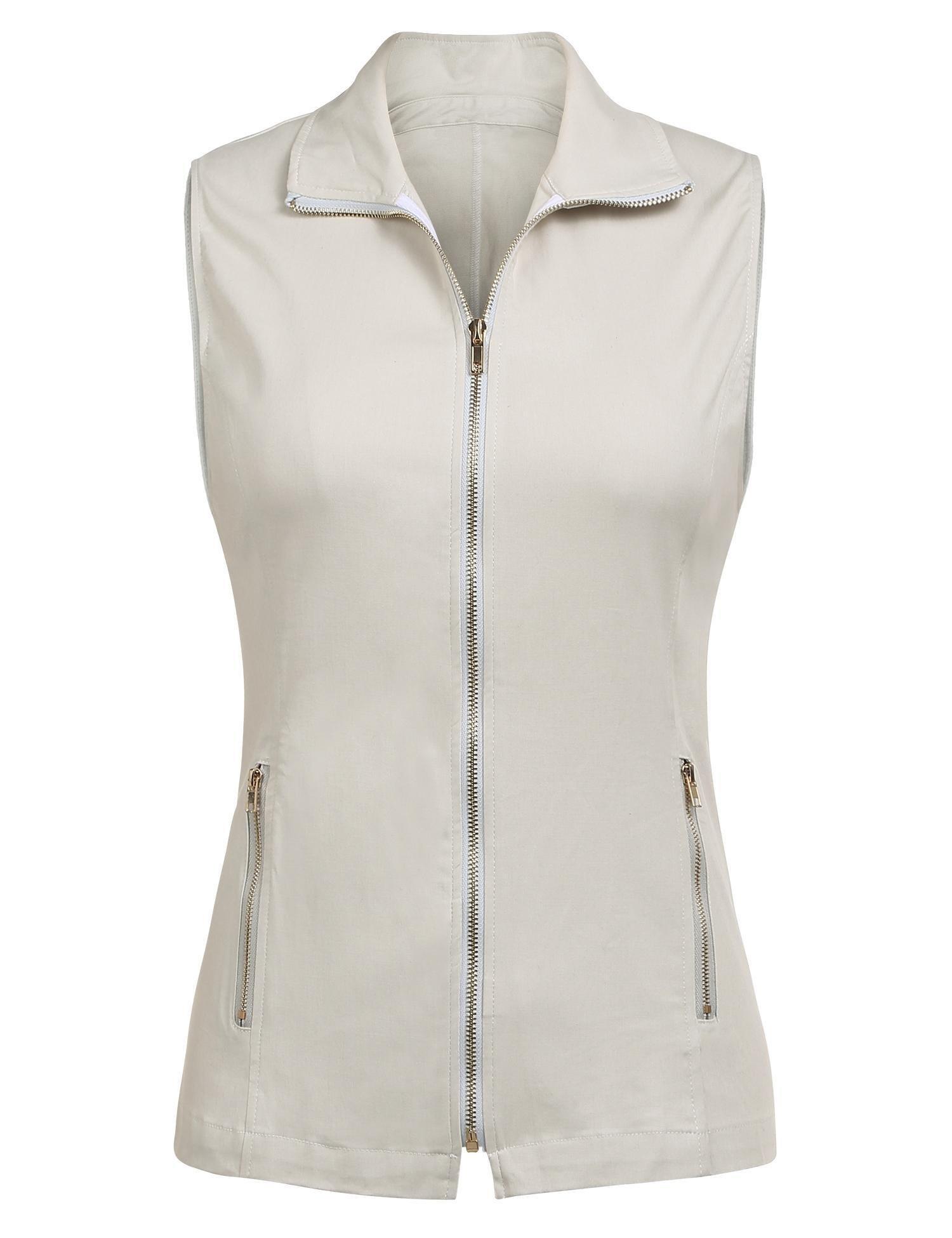 Dealwell Women Pockets Jacket Military Lightweight Full Zip Sleeveless Casual Vest (Beige M) by Dealwell