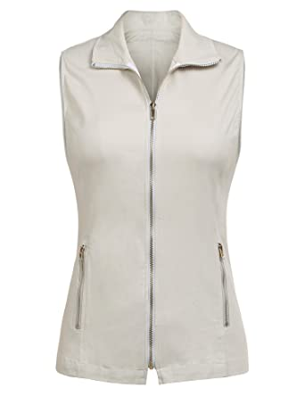 4fdafa1c834f1 Dealwell Women's Sleeveless Casual Jacket Lightweight Military Vest with  Zipper (Beige ...