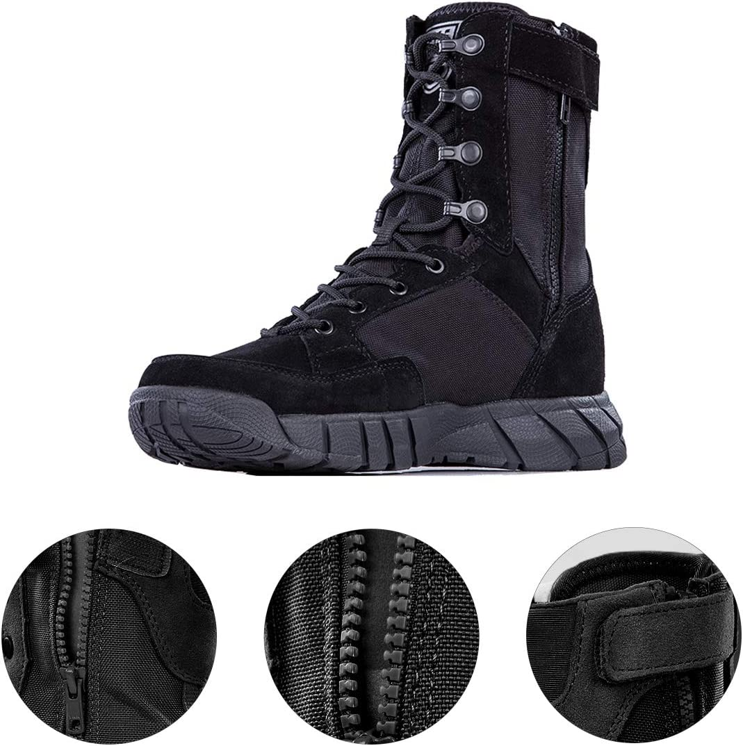 FREE SOLDIER Men/'s 8 Inch Tactical Side Zip Boots Military Army Duty Work Boot Lightweight Combat Boots for Motorcycle Boots