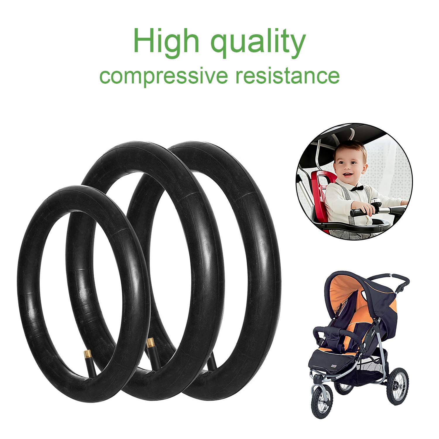 2 Pieces 16 x 1.75//2.15 Back 1 Piece 12.5 x 1.75//2.15 Front Wheel Replacement Inner Tubes Comfitable for BoB Stroller Tire Tube Revolution SE//Pro//Flex//SU//Ironman