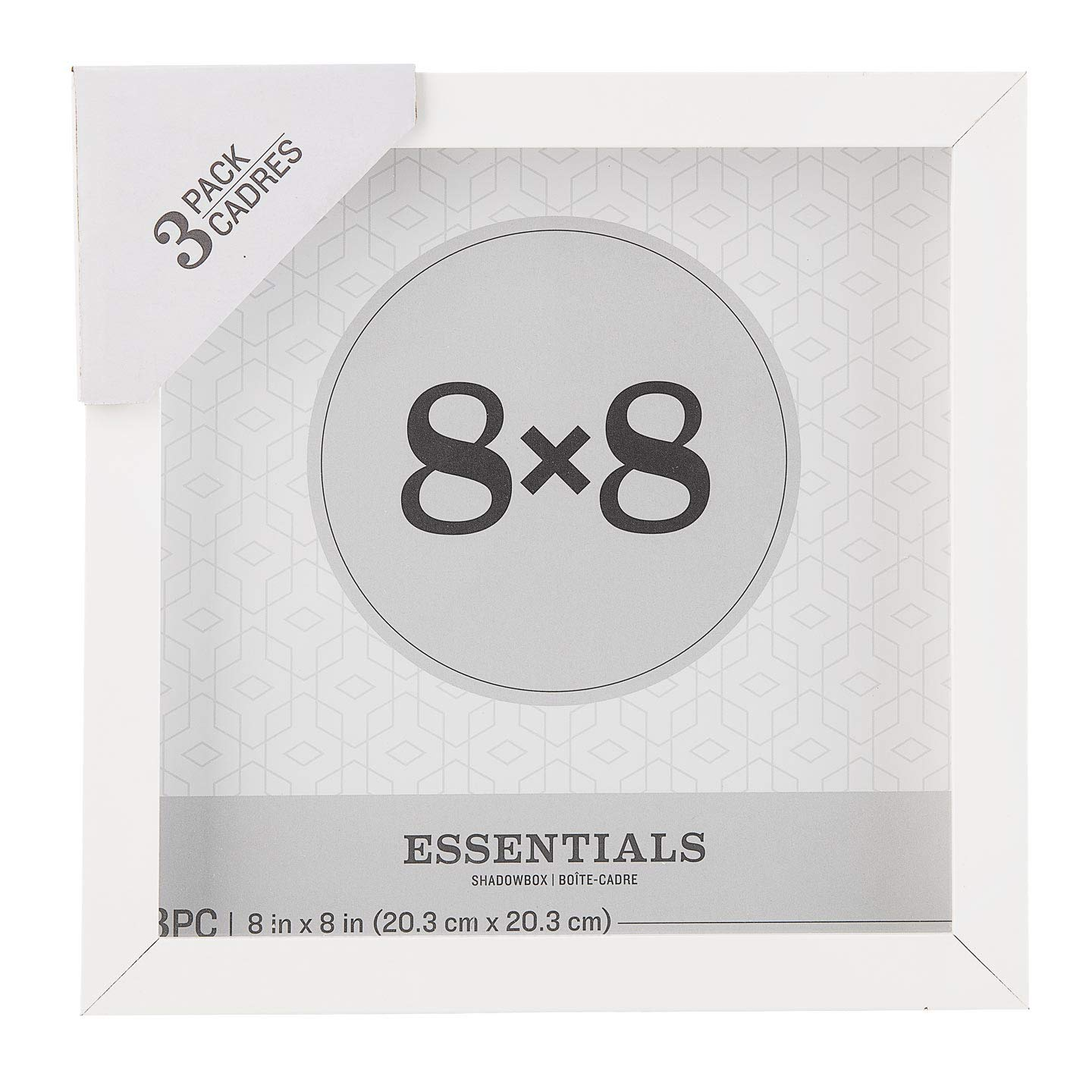 Darice Essentials White 8 x 8 inches, 3 Pieces Shadow Box by Darice