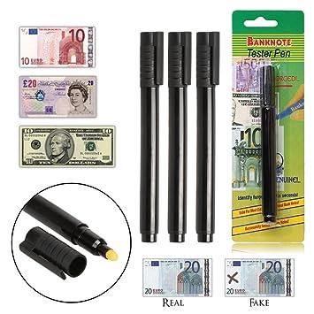demiawaking Money Checker Bolígrafo Detector de billetes falsos lápiz comprobador negro, color Paquete de 3: Amazon.es: Oficina y papelería