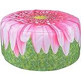 Fun Flower Design Outdoor Pouffe Water Repellent Washable Garden Seat 58cm x 32.5cm (Pink Gerbera)