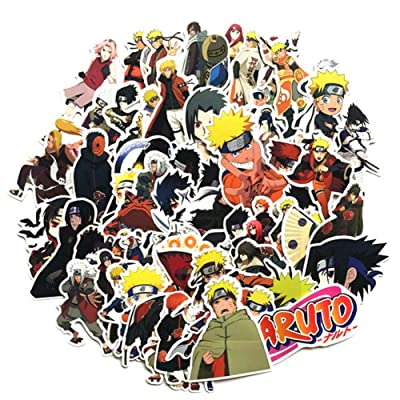 SosoJustgo2 60 Pcs Anime Sticker Gintama Demon Slayer Naruto My Hero College Dragon Ball Waterproof Laptop Bumper Stickers Decals Suitcase Car Skateboard Stickers(50 Pcs Naruto Style): Kitchen & Dining