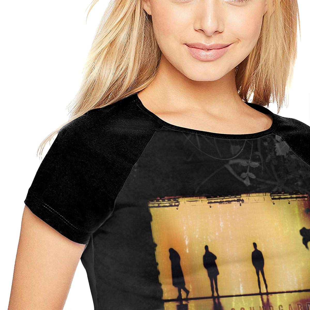 Mabb Soundgarden Down On The Upside Womens Short Sleeve Raglan Baseball Tshirt Black