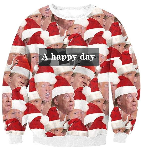 2c457e25dd LETSQK Men's Ugly Christmas Sweater Santa Donald Trump 3D Printed  Sweatshirts at Amazon Men's Clothing store:
