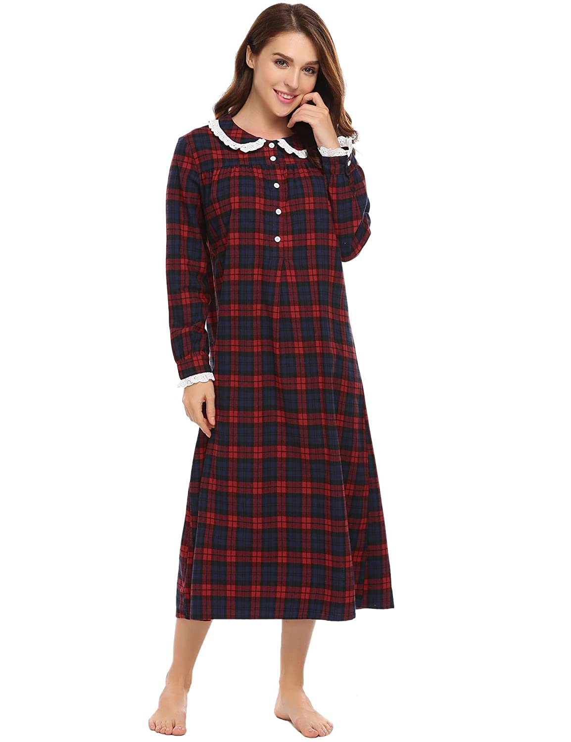 Avidlove Womens Plaid Nightdress Classic Nightgown Long Sleeve Lace-trim Nightshirt