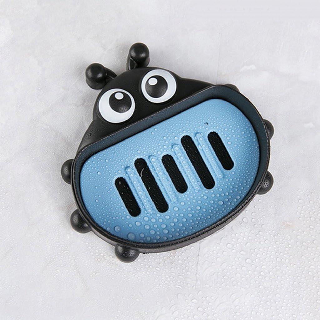 Hearsbeauty bagno Cartoon coccinella carino sapone del contenitore da viaggio porta saponetta Blue