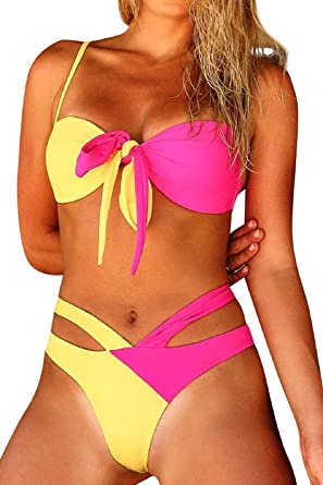 Bikini - Mujer Push-up Cruz Acolchado Bra Bikini Trajes de baño ...