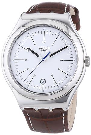 209bf79239a9 Swatch Reloj Analógico de Cuarzo para Hombre con Correa de Cuero - YWS401   Amazon.es  Relojes