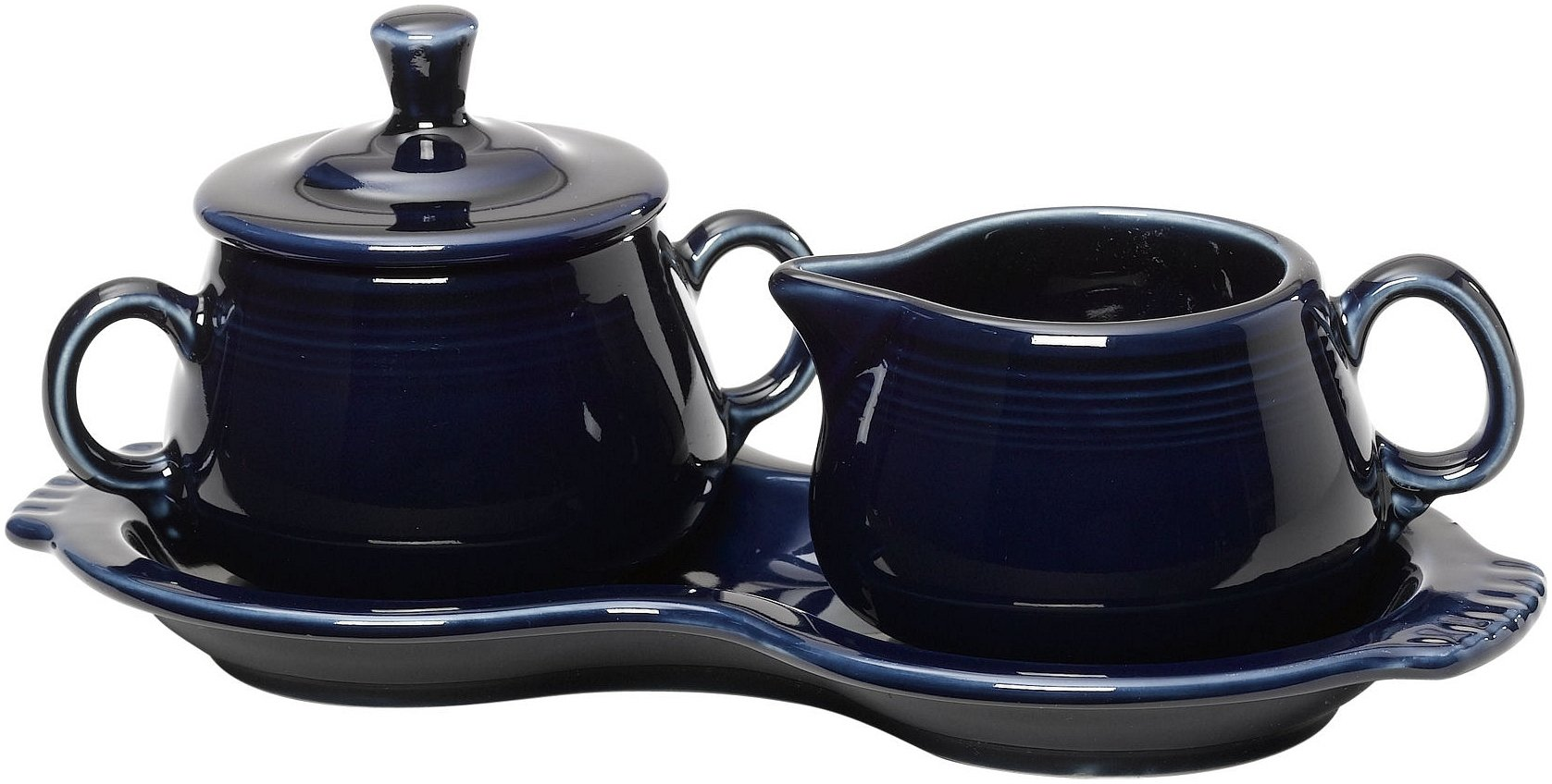 Fiesta Covered Creamer and Sugar Set with Tray, Cobalt