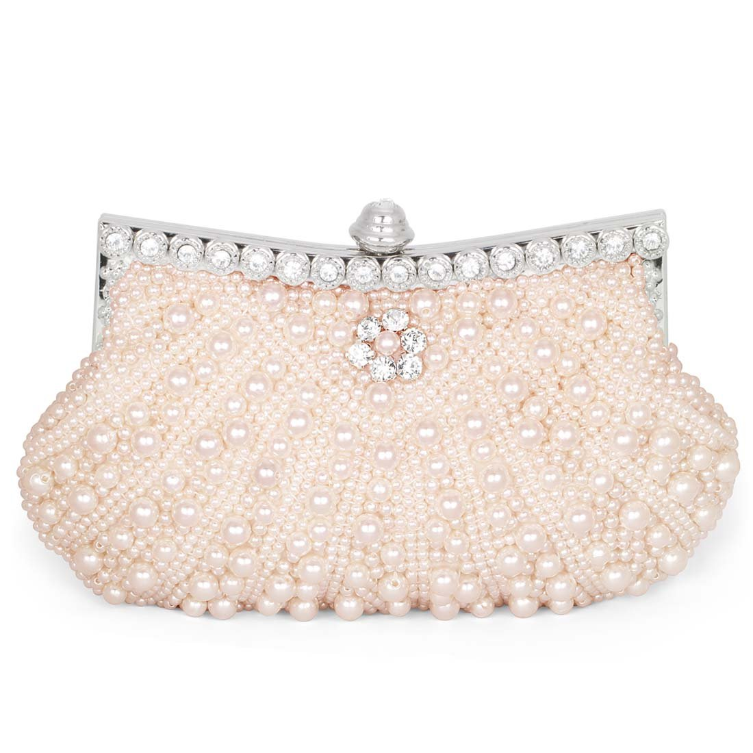 BMC Womens Pink Champagne Faux Pearl Cascading Bead Rhinestone Encrusted Evening Clutch Cocktail Party Fashion Purse